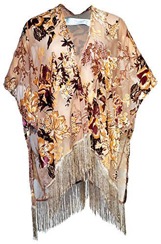 Amazing Grace Elephant Co Women's Vintiage Burnout Velvet Kimono Cardigan Floral Series (Gold Golden (Gold Kimono)