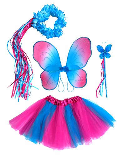 Girls Hot Pink and Blue Fairy Costume with Wings, Tutu, Wand & Halo Fits Age 3-7 -