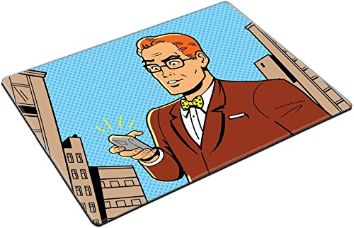 1950 Desk Phone - MSD Place Mat Non-Slip Natural Rubber Desk Pads design 20686993 Ironic Illustration of a Retro 1940s or 1950s Man With Glasses Bow Tie and Modern Smartphone