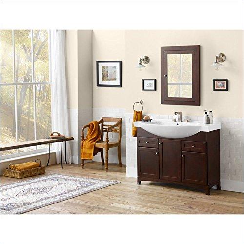 "Ronbow Adara 48"" Space Saver Bathroom Vanity Single with Ceramic Sinktop and Medicine Cabinet in Dark Cherry"