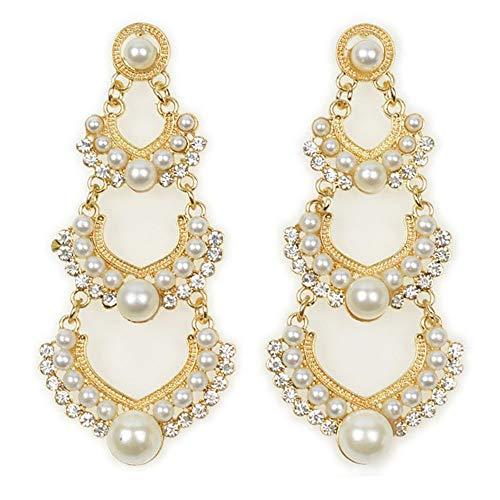 (vmree Luxury Pearl Dangle Chandelier Earrings Exquisite Charm Rhinestone Long Pendant Pierced Stud Eardrop Jewelry Gift for Women Girls (Gold))