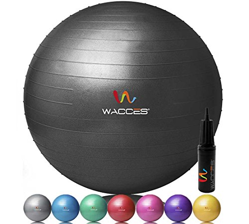Wacces Professional Exercise, Stability and Yoga Ball for Fitness, Balance & Gym Workouts- Anti Burst - Quick Pump Included (Black, 55 cm) by Wacces