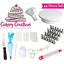 Cake Decorating Supplies Kit 44 Piece Set Turntable Stand Frosting Tips Coupler Disposable Pastry Bags Icing Spatula Cake Brush Reusable Silicone by The Cakery