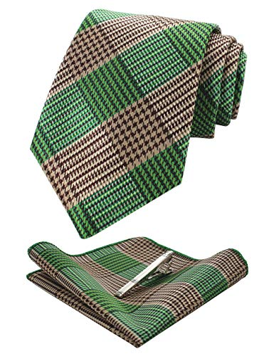 (JEMYGINS Mens Green Plaid Necktie and Pocket Squre, Tie Clip Sets (6))