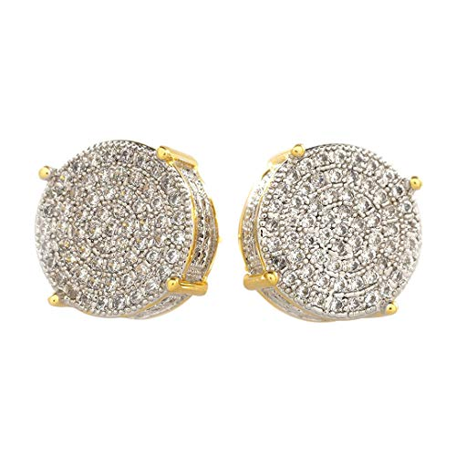 Niv's Bling –18K Gold Plated CZ Earrings – Iced Out Round Studs – Hip Hop Earrings For Men or Women by Niv's Bling
