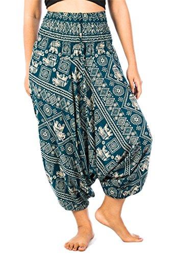 Lofbaz Jumpsuit Pantalones Harem de cintura estampado de flores funky Smocked Mujeres Elephant 2 Verde