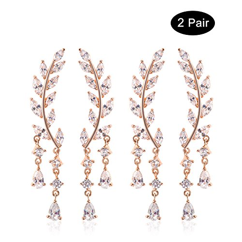 Ginasy Elegant Dangle Earrings in Cubic Zirconia Genuine Platinum Plated Brass and 925 Sterling Silver Needle Fine Jewelry for Fashion or Wedding (Olive Leaf Gold 2 PCS)