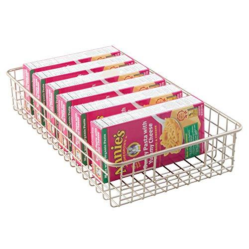 mDesign Household Metal Wire Cabinet Organizer Storage Organizer Bins Baskets trays - for Kitchen Pantry Pantry Fridge, Closets, Garage Laundry Bathroom - 16 x 9 x 3 - Satin