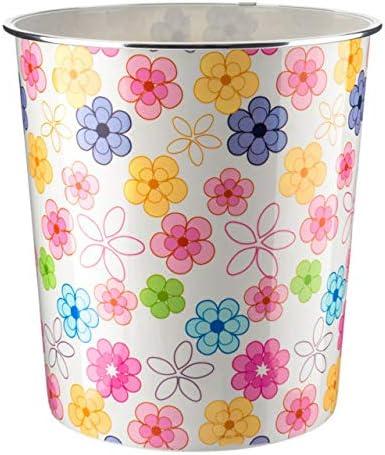 leicht Grau 7,7 l Blumenmuster Home Plus Papierkorb Schwarz /& Wei/ß gepunktet