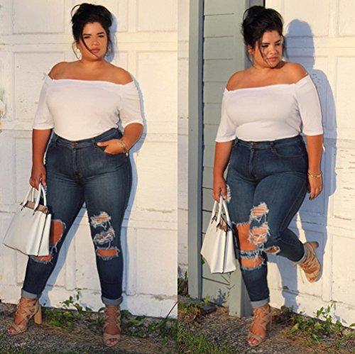 Skinny Matita Donna Casuale Jeans Blu Denim Maxi Alta Pantaloni Dooxi Eleganti Strappato Vita qxawtdH