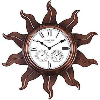 Amazon Com Sterling Amp Noble Metal Sun Outdoor Wall Clock