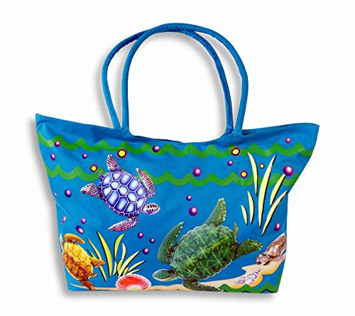 Waterproof Jumbo Blue Canvas Beach Tote Bag Sea Turtle Design Zipper Closure 24 x 15 x 6