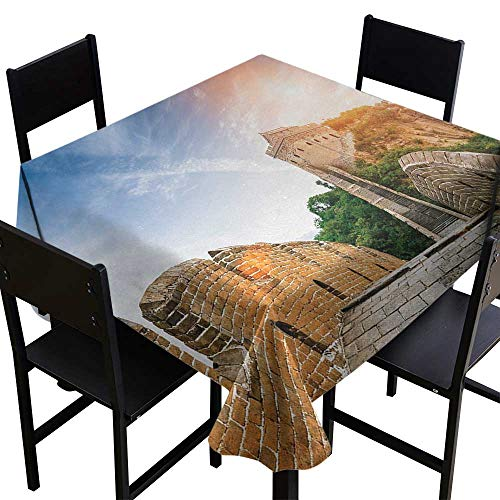 Great Wall of China Elegance Engineered Tablecloth Legendary Dynasty Monument on Cliffs Historical Countryside Art Design Indoor Outdoor Camping Picnic W36 x L36 ()
