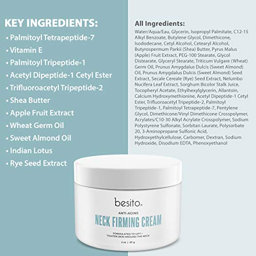 51eGxVkLetL - besito Advanced Neck Cream with Peptides, Vitamin E, Shea Butter, and More. Anti Aging Neck Firming Cream and Moisturizer Helps Reduce Wrinkles, Fine Lines and Age Spots.