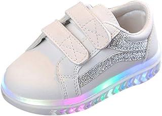 ZEZKT Bébé Rayé Chaussures LED Baskets Sport Bébé Mode Sneakers LED Chaussures Unisexe Bébé Fille Garçon Lumineux Sports Baskets LED Chaussures Lumiere Occasionnel Chaussures