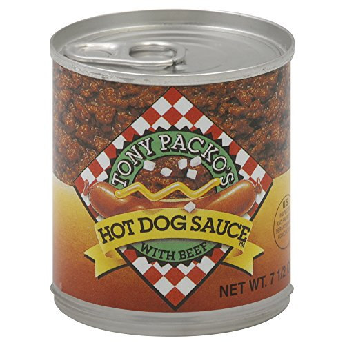 Hot Dog Chili Sauce - Tony Packo's Hot Dog Sauce with Beef, 7.5 Ounce (Pack of 12)
