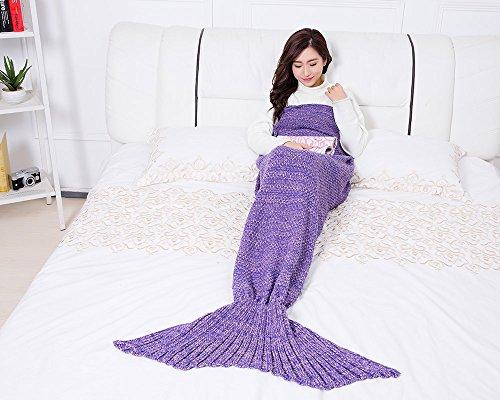 Best Friend Costume Ideas (UMEICOOL Mermaid Knitting Blanket Living Room Sofa Sleeping Bags Mermaid Blanket for Adults (35.43x70.87inch, Purple))