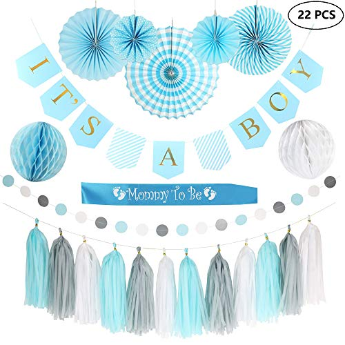 Free Printable Baby Shower Decorations - Baby Shower Decorations for BOY!| It's A Boy Gold Foil Banner| Printable Games & Invitations| Mommy to be Sash| Card Stock Paper Fans| Honeycomb Balls| Tassels | Blue White Grey| Easy & Quick