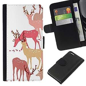 All Phone Most Case / Oferta Especial Cáscara Funda de cuero Monedero Cubierta de proteccion Caso / Wallet Case for Apple Iphone 5C // Deer Art Forest Animal Autumn Pack