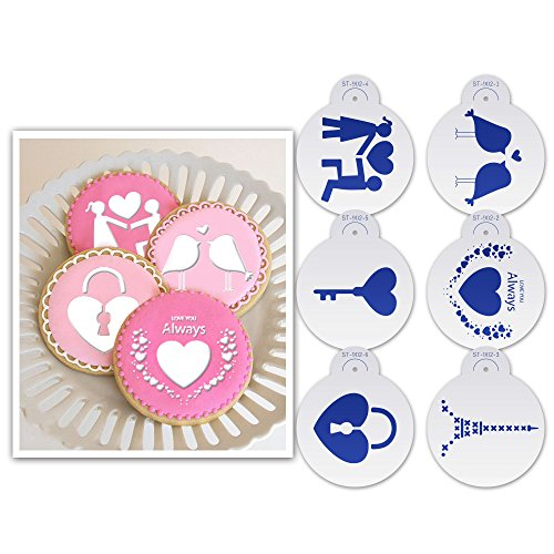 ART Kitchenware 6pcs Cookie Cake Stencil Set (Lovers, Love Heart, Birds,Key) for Wedding & Valentine's Day Cupcake Stencil Mold Fondant Cake Border Decoration Tool ST-902 ()