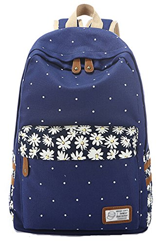 DATO Bolso Mochilas Escolares Floral Mochila de Lona para Mujer Multifuncional Moda Juvenil Grand Capacidad Viaje Mochilas Tipo Casual Backpacks Dark Blue