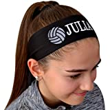 Funny Girl Designs Volleyball TIE Back Moisture Wicking Headband Personalized with The Embroidered Name of Your Choice (Navy Blue Solid)