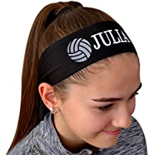 Funny Girl Designs Volleyball TIE Back Moisture Wicking Headband Personalized with The Embroidered Name of Your Choice