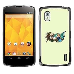 Caucho caso de Shell duro de la cubierta de accesorios de protección BY RAYDREAMMM - LG Nexus 4 E960 - Tiempo de la niñez
