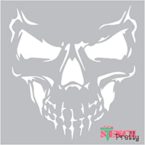 Biker Skull & Bones Stencil - Life on The Road DIY Crafts Best Vinyl Large Stencils for Painting on Wood, Canvas, Wall, etc.-M (12