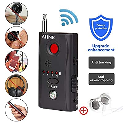 RF Bug Detector, Wireless Signal Detector for Spy Hidden Camera, AHNR Anti Spy Hidden Camera Pinhole Laser Lens GSM Device Ultra-high Sensitivity Full-Range Tracker Finder Portable Alarm from AHNR