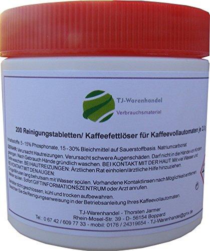 200 Reinigungstabletten Reinigungstabs Reiniger für Kaffeevollautomaten à 2g / Ø15mm Kaffeeautomaten geeignet z.B. für AEG, Bosch, Jura, Siemens, Saeco