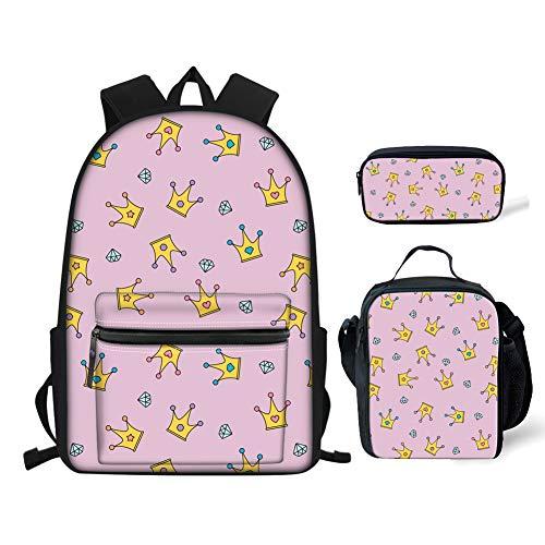 BIGCARJOB Little Girls Bookbag Set 3pcs Backpack with Shoulder Lunch Kit Pen Case Crown Printed for Primary Girls