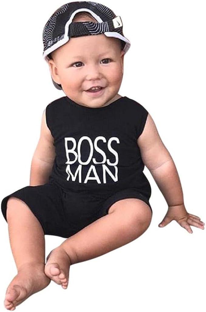 Mono Body Sin Mangas con Estampado de Letras Boss Man QinMM Ni/ños Bebes