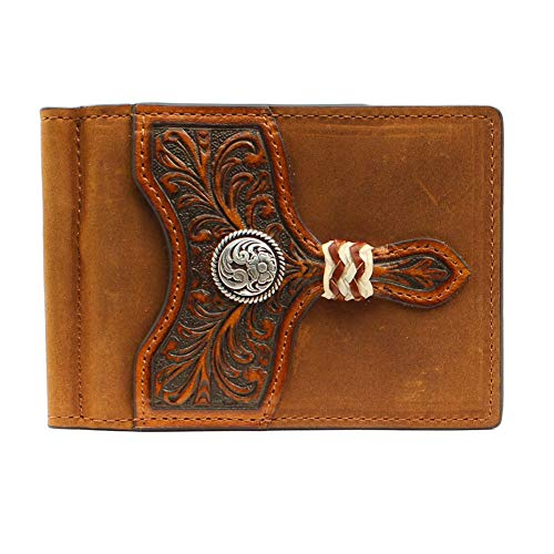 Leather Bi Fold Distressed (Ariat Men's Distressed Circle Concho Interior Money Clip Wallet, Brown)