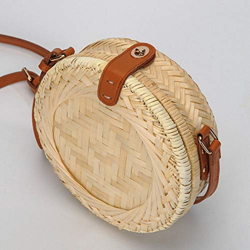 Circulaire Et Petit Frais Rond made Satchel Du Bandes Liladida Loisirs Plage Hand Femme Circular Bambou Sac w6Haa