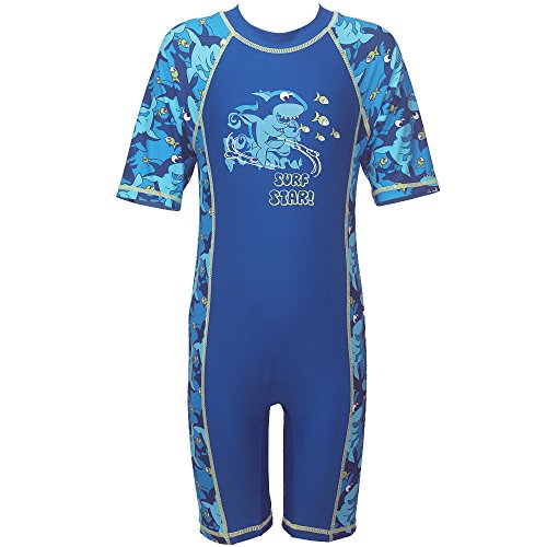 TFJH Kids Boys Swimsuit UPF 50+ UV Sun Protective One-Piece Shark Fish 3-4Years (Shark Snorkel compare prices)