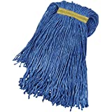 AmazonBasics Cut-End Cotton Mop Head, 1.25-Inch Headband, Medium, Blue - 6-Pack