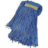 AmazonBasics Cut-End Cotton Mop Head, 1.25-Inch Headband, Medium, Blue - 6-Pack