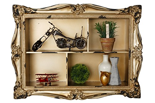 AdirHome Ornamental Wood Wall Shelf with 4 Sections by AdirHome