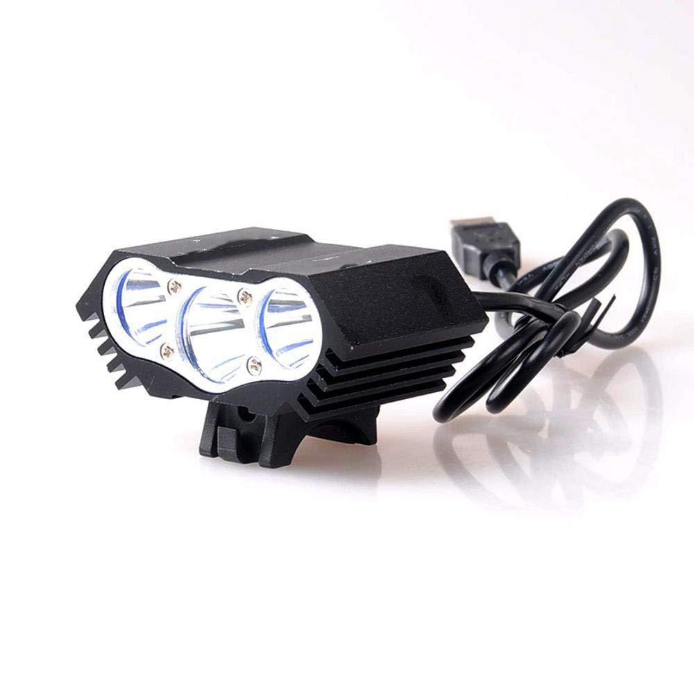 Kaxima Luces Bicicleta Lámpara de Bicicleta LED Faros 3 Tapas T6 montaña vehículo Fuerte luz Linterna USB Charge