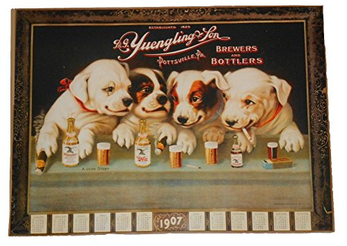 dogs drinking beer poster
