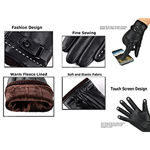 Iuway Womens Touchscreen Texting Gloves Fleece Lind Driving Winter Warm Leather Gloves (Black), One Size Fits Most