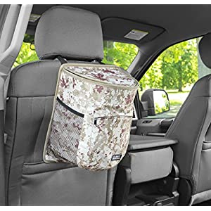 Clean Ridez Car Garbage Can w/ Ez Flip Lid & Leakproof Removable Liner - Auto Trash Bag & Car Cooler with Bottle Holders and Extra Storage Pocket (Desert Digital Camouflage)