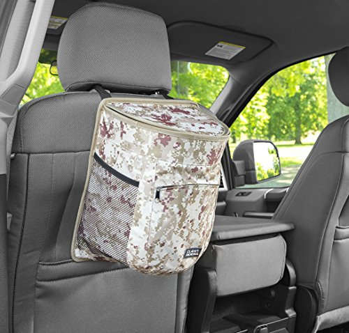 Clean Ridez Car Garbage Can w/ Ez Flip Lid & Leakproof Removable Liner - Auto Trash Bag & Car Cooler with Bottle Holders and Extra Storage Pocket (Desert Digital (Outfit Pick)