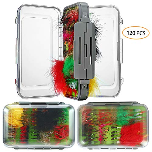 FOCUSER Flies for Fly Fishing, 120 pcs, Dry/Wet Fly Fishing Lures, Fly Fishing Gear for Bass, Trout, Salmon with Storage Organizer Box, Fly Boxes, Lure Boxes, Planet Box, Gifts, Accessories, Assorted