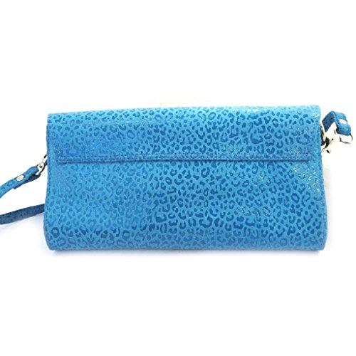 Bolso de la bolsa de cuero 'Frandi'turquesa (2 fuelles)leopardo.