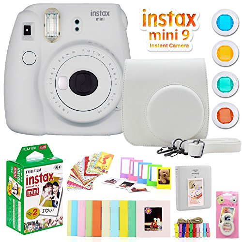 Fujifilm Instax Mini 9 Instant Camera w/Deco Gear Accessories & Film (Smokey White)