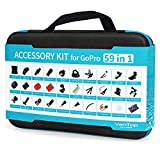 VanTop 59 in 1 Accessories Kit for GoPro Hero 6 5 4 3+ 3 2 1, Hero Session, GoPro Fusion, AKASO, APEMAN, Lightdow, Xiaomi Yi and More, Outdoor Sports Action Camera Accessory Kit with Carrying Case