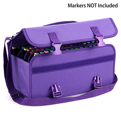 BTSKY New 120 Slots Marker Case Lipstick Organizer--Canvas Markers Holder for for Primascolor Markers and Copic Sketch Markers (Purple)