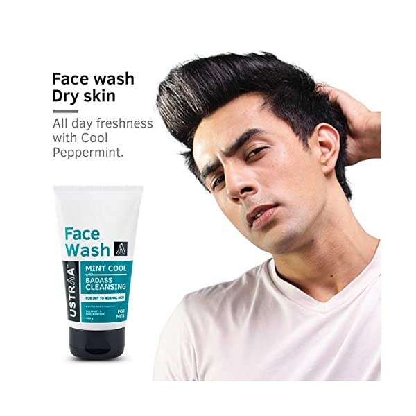 Ustraa Face Wash - Dry Skin (Mint Cool) - 100gm 2021 July Hydrates and moisturizes. Reduces itching and irritation. Skin soothing and cooling. Formulated for dry and normal skin. Paraben & Sulphate Free.